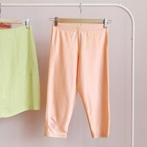 shiny peach crop leggings / calf length bike short